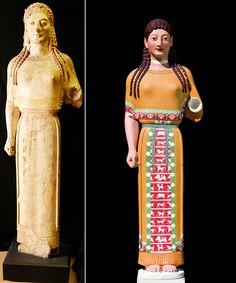 'Peplos Kore,' original alongside reconstruction, Athens (540 BCE/2011), artificial marble, h: 130 cm, Stiftung Archäologie, Munich