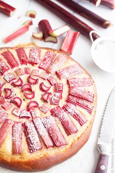 Sharp sweet tender pink rhubarb sits atop a thick vanilla bean custard and a brioche base for the most decadent way to kickstart a weekend brunch!