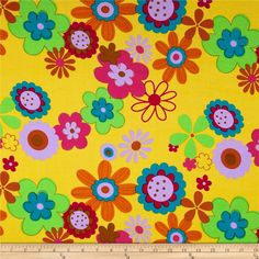 Rayon Challis Floral Yellow from @fabricdotcom  This rayon challis fabric has a smooth luxurious hand and soft, liquid drape. Perfect for fuller skirts and dresses, blouses, shirts, scarves and tunics. Colors include fuchsia, burnt orange, green, teal blue, lilac, and brown on a yellow background.