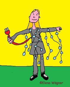 """La fiesta de carnaval del cole, es una perfecta excusa para poner en práctica la creatividad. """"Trepadora"""" y """"Danzarina"""", hijas de la cocinera almidonera, aún son dóciles y se dejan poner disfraces """"innovadores"""". En este dibujo, """"Trepadora"""" está vestida de """"noche estrellada""""..."""