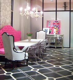 love the black & white with pops of pink...and the Union Jack in the background! great idea for teen girls room