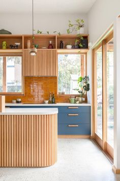 Whats cooking A range of different textures sing in this timber kitchen space with glossy amber subway tiles forming the splashback Blue cabinetry features timber handles. Kitchen Inspirations, Interior Design Kitchen, Timber Kitchen, House Interior, Home Kitchens, Home Renovation, Kitchen Design, Wooden Kitchen, Home Decor