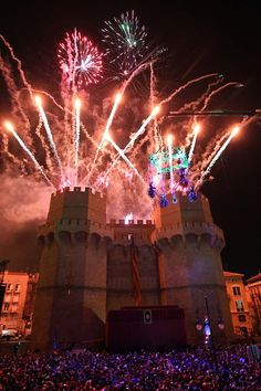 """Valencia celebrates the """"Cridà"""", the event that marks the kick off of the Fallas. The """"Fallera Mayor"""" announced the start of Fallas from the top of Torres de Serranos (one of the remaining doors of the ancient wall of the city) to all people attending."""