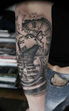 Resultado de imagen para stairs to clock tattoo