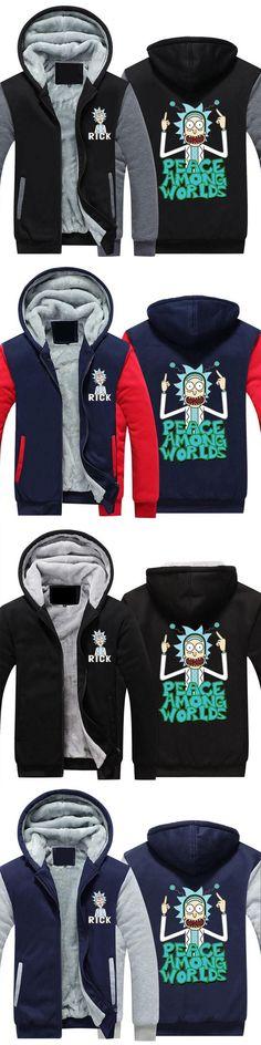 2018 Rick and Morty Coat Zipper Hoodie Men Women Winter Fleece Unisex Thicken Jacket Sweatshirts Hoodies USA size