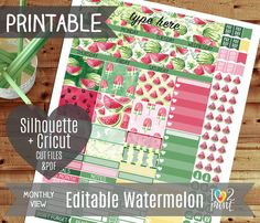 Editable Watermelon Monthly View Printable Planner Stickers, Erin Condren Planner Stickers, Monthly Overview Stickers, Watercolor/Cut files