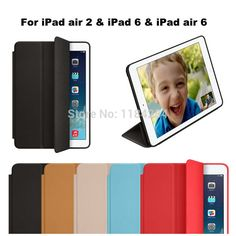 Free Shipping Hot Smart Case for ipad 6& ipad air 2 Tablet PC Thin Flip Magnetic Stand Case PU Leather Cover Original alishoppbrasil
