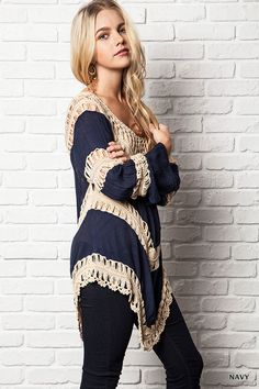 This tunic is a must-have top! We love the super chic look and loose woven crochet design. The fit is so flattering and will pair perfectly with your springtime accessories. You are sure to love this tunic.