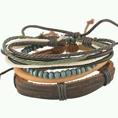 Vintage Bangle Braided Adjustable Leather Bracelet  Cuff  Unisex Casual Gift