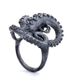 Black Silver Tentacle Ring by PeggySkempJewelry