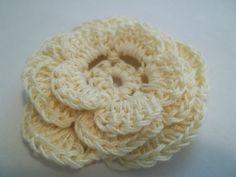 Cream Crochet Flower Hair Clip by UnraveledTreasurez on Etsy, $5.00