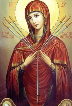 "Theotokos Seven Arrows/ ""Softener of Evil Hearts""---Jesus our brother; Mary, our Mother, Jesus the King, his mother the Queen. Mary, Arch of the New Covenant, Jesus the new Adam, Mary the new Eve. An Angel, hailed her first, and the Father espoused her. Mary will always point to Jesus."" My soul magnifies the Lord""...our God and our Savior."