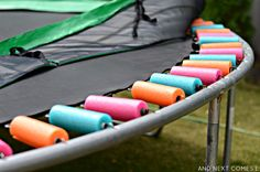 Pool Noodle Trampoline Safety Hack | And Next Comes L