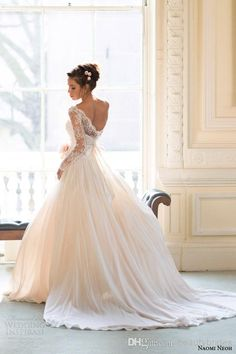 Wholesale 2014 fall/Winter Long Sleeves Gorgeous Lace Wedding Dresses Sweep Train Backless Bridal Gowns with Bow 0611B, Free shipping, $137.6/Piece | DHgate Mobile