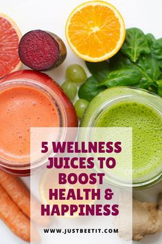 Improve your health from the inside out! Whether you are seeking clear vibrant skin, increased energy, or better immunity, these 5 wellness juices are brimming with delicious nutrition to boost your health and happiness. Turmeric Health, Food For Digestion, Improve Metabolism, Healthy Liver, Juicing For Health, Vegan Smoothies, How To Increase Energy, Juices, Beets