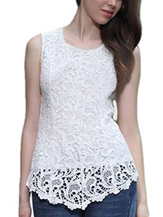 ZANZEA Women's Sleeveless Embroidery Chiffon Lace Tops Vest Shirt Blouse *** Continue to the item at the image link.