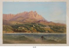 [ALUPKA NEAR YALTA, CRIMEA] BOSSOLI, Carlo (1815-1884) [Hand Coloured Tinted Lithograph View of the Southern Crimean Shore with the Distant view of the Vorontsov Palace and Crimean Mountains in the Background]. [London]: Day & Son, [1856].