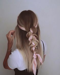 hairstyle ribbon braid * hairstyle ribbon & hairstyle ribbon braid & hairstyle ribbon half up & hairstyle ribbon bun & hairstyle ribbon tutorial & hairstyle ribbon wedding & hairstyle ribbon simple & hairstyle ribbon updo Scarf Hairstyles, Pretty Hairstyles, Easy Hairstyles, Simple Hairdos, Office Hairstyles, Hairstyle Ideas, Medium Hair Styles, Short Hair Styles, Ribbon Hairstyle