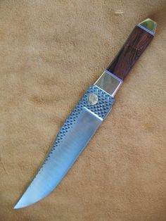 Custom Coffin Handle Bowie Knife with Brazilian Rosewood Exotic Hardwood Handle