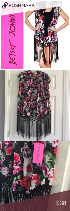 Betsey Johnson fringed kimono Betsey Johnson fringed kimono.  Ties on top of shoulders, open front.  Vibrant iconic floral pattern.  55% cotton, 45% rayon with polyester fringe.  Super cute!  So versatile, wear over a bikini, as a top or to lounge!  NWT. Model pic from Betsey Johnson website. Betsey Johnson Intimates & Sleepwear