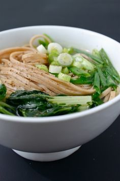 Easy udon with bok choy, scallion, and soba noodles