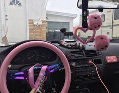 Pretty Cars, Cute Cars, Car Interior Decor, Pink Car Interior, Miata Car, Miata Mods, Pink Car Accessories, Interior Accessories, Dream Cars
