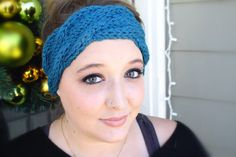 Cable Knit Winter Headband in Peacock Blue