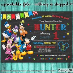 Mickey Mouse Clubhouse Invitations Mickey by KidsPartyPrintables