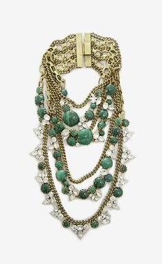 Multi-Chain Jeweled Necklace.