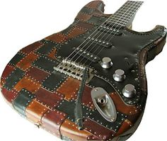 Leather patchwork guitar.  OMG....I LOVE THIS!!!!!