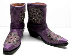 Purple leather short ankle cowboy western boots cowgirl rodeo biker boots ~ I LOVE the turquoise inlay