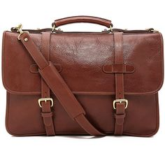 Lotuff Leather Bound-Edge English Briefcase (61.645 RUB) ❤ liked on Polyvore featuring men's fashion, men's bags, men's briefcases, chestnut and mens leather briefcase