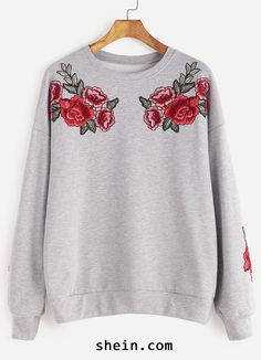 Heather Grey Drop Shoulder Rose Embroidered Sweatshirt
