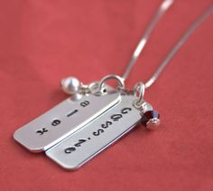 Mothers Necklace, Mommy Jewelry, TWO names, Rectangle Charms and Birthstone Crystals, Sterling Silver Hand Stamped Personalized Necklace
