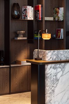 Hotel Meeting, Crittall, Plaster Walls, Urban Architecture, Upholstered Arm Chair, Timber Flooring, Green Marble, Reception Areas, Coffee Table Books