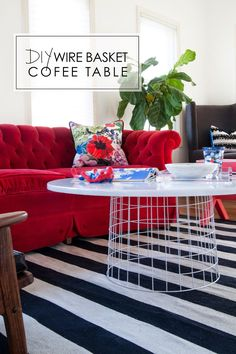 DIY: wire basket coffee table