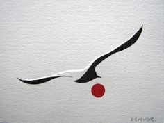 Albatross (Rouge) by Jean Lagadec. One of this artist's iconic images. He gave his written permission to a young woman who wanted a tattoo of this albatross & tells me he it was a great honour for him that she would want to wear an image he'd created, on her skin, for the rest of her lives.