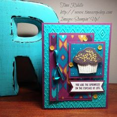 Stampin' Up! Sprinkles of Life, Tree Builder Punch, Bohemian DSP, Boho Chic Embossing Folder Birthday Card