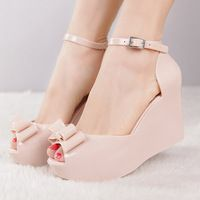 New arrival 2014 melissa jelly shoes bow platform wedges female ...