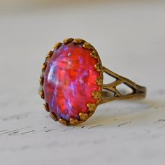 Dragon Opal Ring, Vintage Dragon's Breath glass Opal in crown setting
