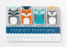 Magnetic Bookmark Set of 4 - Four Woodland Animal Bookmarks - Raccoon, Fox, Owl, Wolf - Gifts for Book Lovers - Gifts for Her