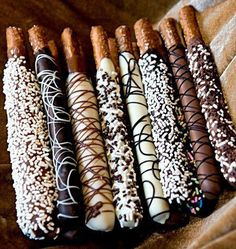 Chocolate dipped pretzel rods.