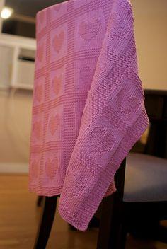 Free knitting pattern for Heart Baby Blanket