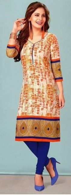 Mahati Cambric Cotton Long Kurti In Orange: Package content: 1 Kurti Fabric: Cambric Cotton Sleeve: 3/4 Sleeve Color: Orange Kurti Length: 46 inches Washing Instruction: Hand Wash Note: However, the actual product might differ from the product image available on the website. The colors may appear slightly different on different mobile devices due to different screen resolutions.Product ID: 3453660 Please Comment, Like, or Re-Pin for later 😍💞 kurti ladies, indian cloth store near me, lehenga fo Latest Kurti, Indian Dresses, Indian Wear, Pink Ladies, Tunic Tops, Orange, Clothes For Women, Resolutions, Casual