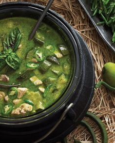 "Cauldron Curry - You can almost hear the witch chant, ""Breast of chicken and chile's fury -- with fresh green veg make good Thai curry!"""