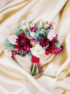 #stylemywedding Dahlias, hellebores, iron cross clover and blueberries…from TheBridesCafe