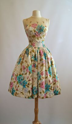 1950's Silk Floral Dress ~ Springtime In Paris ~ Vintage 50's Illusion Neckline Party Dress