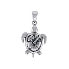 Hibiscus on Sea Turtle's Carapace Sterling Silver Pendant TPD3801
