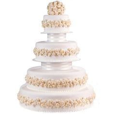 Pearl Dust Perfection Cake - An array of icing flowers add lovely distinction to this tiered masterpiece. Pearl Dust and the Tailored Tiers Cake Display Set add a touch of shimmer.
