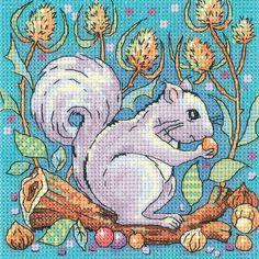 Grey Squirrel - Heritage Crafts cross stitch kit